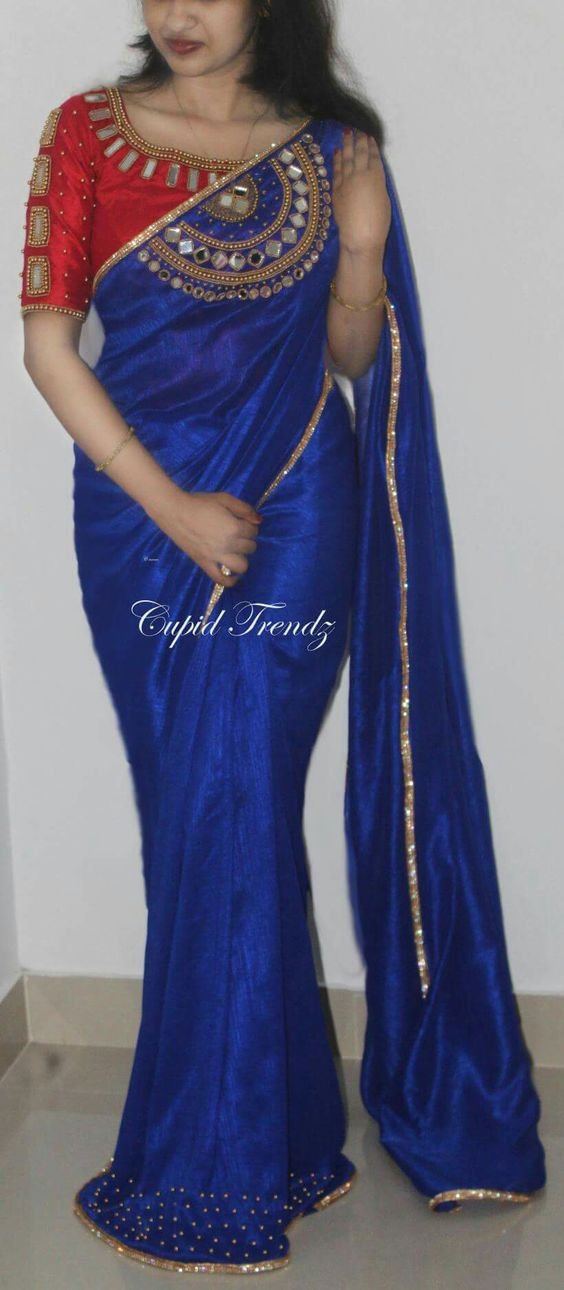 saree and mirror blouse